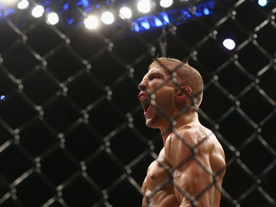 TJ Dillashaw is shown here at UFC 217 at Madison Square