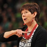 Mar 19, 2016; Notre Dame, IN, USA; Notre Dame Fighting Irish coach Muffet McGraw reacts during the game against North Carolina A&T in the first round of the 2016 women's NCAA Tournament at Edmund P. Joyce Center. Mandatory Credit: Joe Raymond-USA TODAY Sports