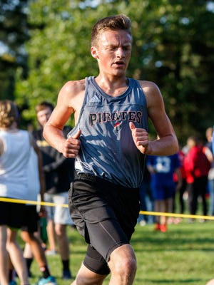 Pewaukee junior Justin Krause runs to a seventh place finish in the West Allis Hale Leighton Betz Invitational cross country meet at Greenfield Park on Friday, Sept. 1, 2017.