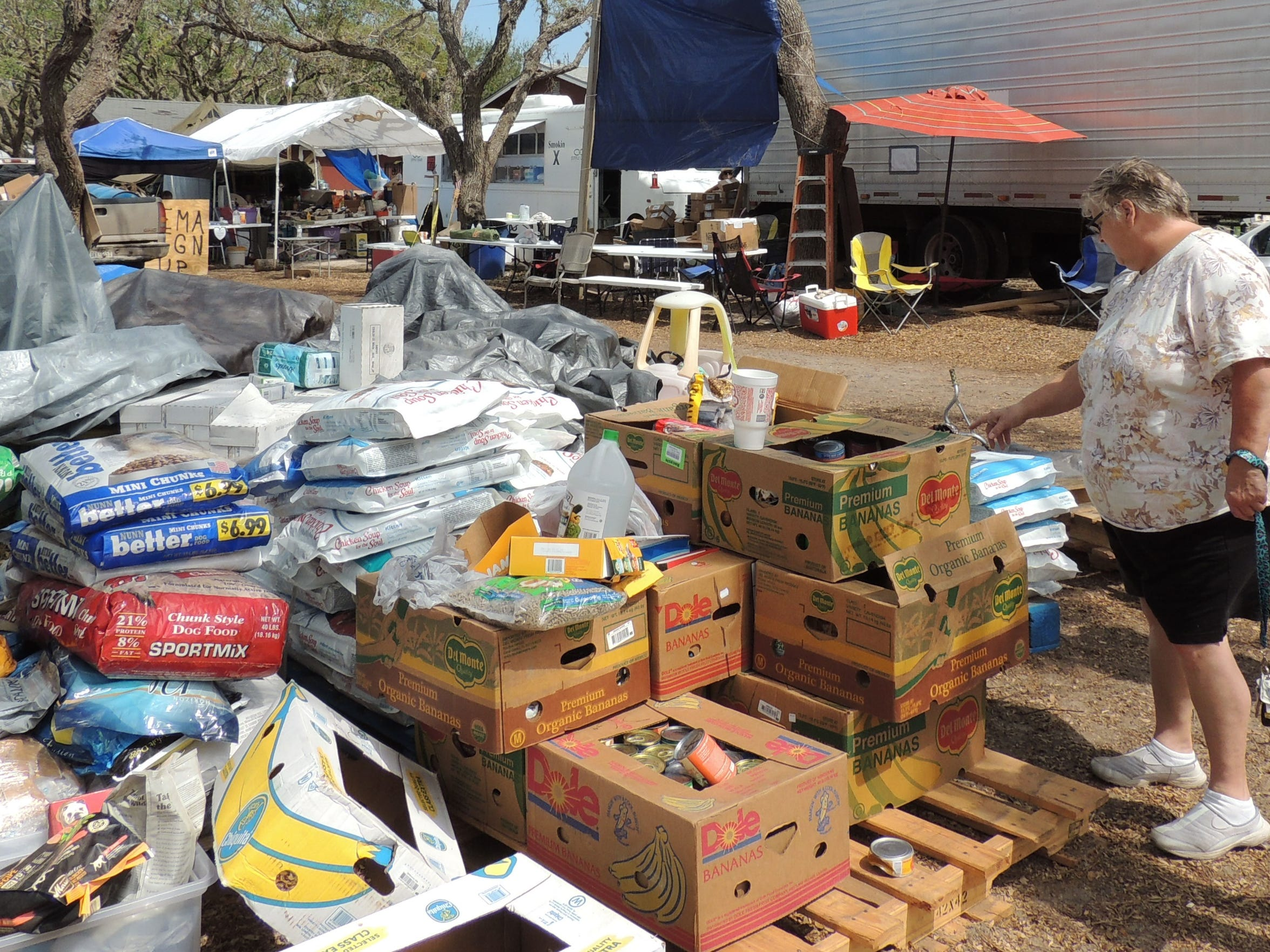 Donations of food and supplies came pouring into Rockport soon after Harvey.