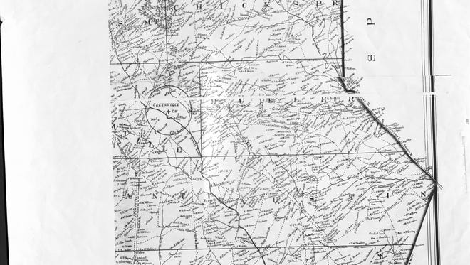A map dated 1850 shows landowners in Greenville.
