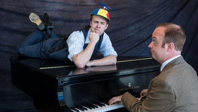 "Jon Wascavage plays the suspects and Paul Helm plays Marcus Moscowicz in the two-person, piano-based, murder-mystery musical ""Murder for Two"" at the Utah Shakespeare Festival."
