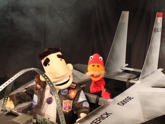 """Maverick and Goose in All Puppet Players' """"Top Gun:"""