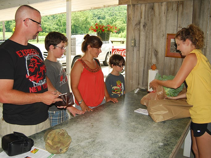 From left, Ryan Cobb of Union his family Brandon, 11, Annette, and Dylan, 9, purchase fresh vegetables from Olivia Kremer of Erlanger and McGlasson Farms during the Boone County Farms Tour held Saturday, June 21.