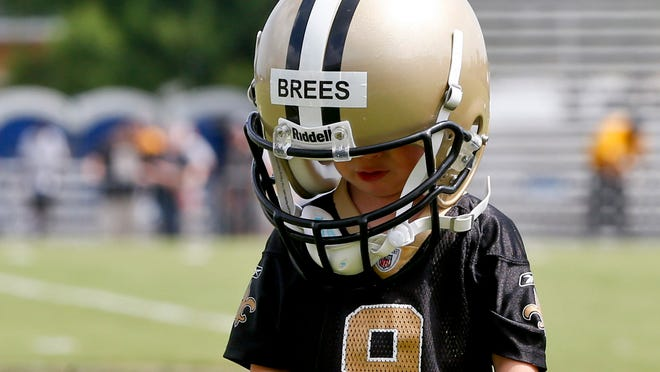 Bowen Brees, son of Saints QB Drew, won't be strapping up a helmet in a real game anytime soon.