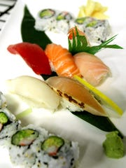 Sushi and sashimi prepared for serving at Brighton's