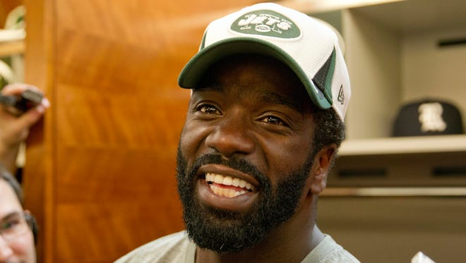 Nov 14, 2013; Florham Park, NJ, USA; New York Jets safety Ed Reed addresses the media at his locker at the Jets training facility.