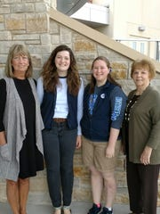 St. Mary's Springs Academy seniors Mikaela Hanrahan and Mackenzie Mas will receive the P.E.O. Star Scholarship. Pictured are, from left: Martha Zunker, Chapter BD of P.E.O.; Mikaela Hanrahan; Mackenzie Mas; and Joan Bowser, Chapter BD of P.E.O.