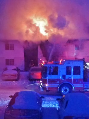 A scene from the height of the blaze at Avondale Park Apartments shortly before 6 a.m., taken by a neighbor.