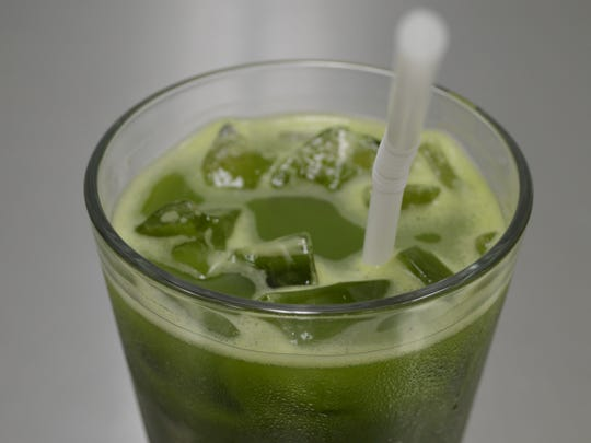 For matcha lemonade, the  matcha is hand-whisked with