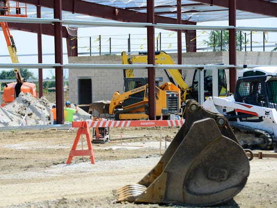 Construction on Standard Wellness LLC's 50,000-square-foot facility at Gibsonburg's Clearview Industrial Park continued Thursday.