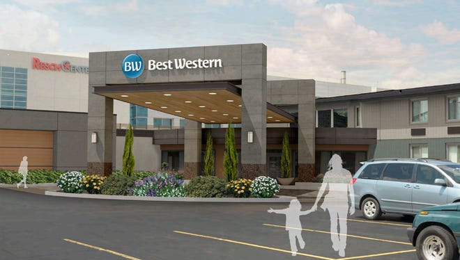 A rendering of the new canopy owners of the Best Western Green Bay Inn Conference Center want to build as part of a facade upgrade to the hotel.