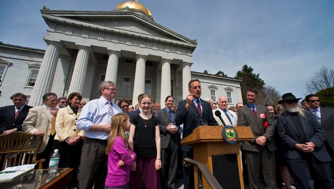 Gov. Peter Shumlin speaks before signing a bill requiring the labeling of food with GMO ingredients during a ceremony at the Statehouse in Montpelier.  GLENN RUSSELL/FREE PRESS Gov. Peter Shumlin speaks before signing a bill requiring the labeling of food with GMO ingredients during a ceremony at  the Statehouse in Montpelier on Thursday, May 8, 2014.