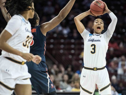 California guard Mikayla Cowling (3) looks for an open teammate during the second half of game in the first-round of the NCAA women's college basketball tournament, Friday, March 16, 2018, in Columbia, S.C. Virginia defeated California 68-62. (AP Photo/Sean Rayford)