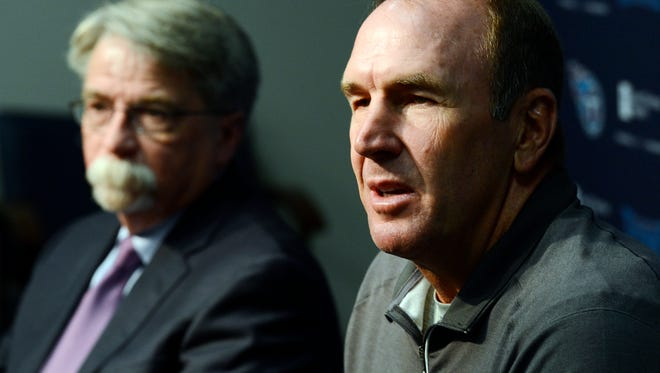 Tennessee Titans assistant head coach/tight ends Mike Mularkey, right, and president and CEO Steve Underwood, left, answer questions from members of the media at a press conference after the team fired head coach Ken Whisenhunt and named Mularkey interim head coach on Tuesday, Nov. 3, 2015, in Nashville, Tenn.