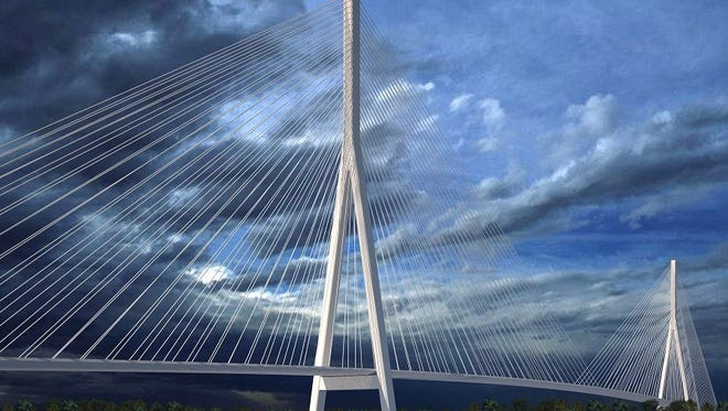Rendering shows one potential configuration of the planned Gordie Howe International Bridge, to be built spanning the Detroit River between Windsor and Detroit.