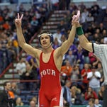 Norwich's Tristan Rifanburg, seen here following his victory over Central Valley Academy's Laken Cook in last year's state Division II 138 final, is seeking his third state wrestling title this weekend at the Times Union Center in Albany.