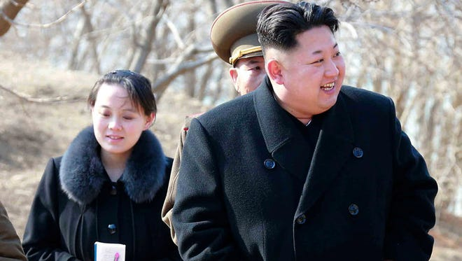 This 2015, file photo provided by the North Korean government shows North Korean leader Kim Jong Un and his sister Kim Yo Jong, left, during their visit to a military unit in North Korea. South Korea's Unification Ministry said North Korea informed Wednesday, Feb. 7, 2018, that Kim Yo Jong would be part of the high-level delegation coming to the South for the Pyeongchang Winter Olympics.