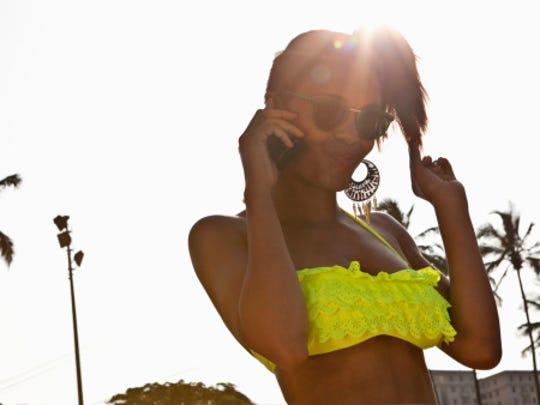 Woman in a ruffle bathing suit top