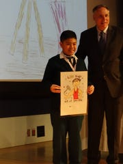 Francis Roldan from St. Joseph School in Carteret with Angelo Valente, PDFNJ's executive director
