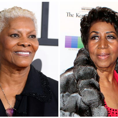 In this combination photo, singer Dionne Warwick arrives