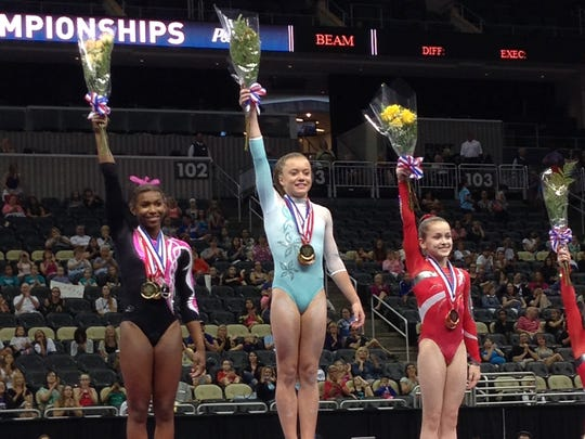 Norah Flatley finished third in the junior all-around at the P&G Championships.