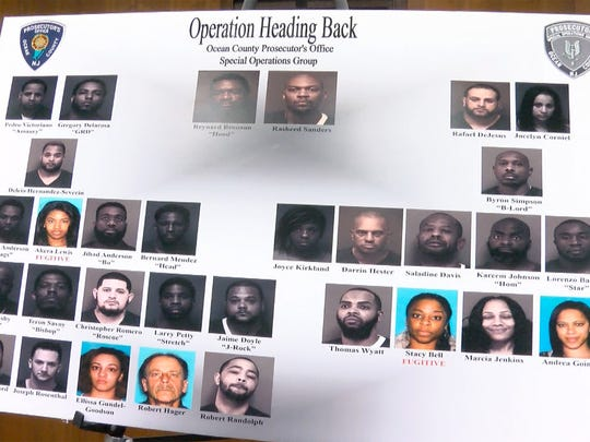 A chart showing those arrested, and some of those who are still fugitives, was displayed as Ocean County Prosecutor Joseph Coronato announced a massive drug bust and seizure during a news conference in Toms River, NJ, Friday, March 9, 2018.  'Operation Heading Back' investigation involved seven other counties, and 30 law-enforcement agencies including the DEA. Seizures: $900K cash 27 high-end vehicles worth $700K 90K doses (1,800 bricks) of heroin and cocaine.