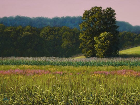 """Kickapoo Valley Summer,"" pastel by Kay Brathol-Hostvet, part of the ""Welcome Spring"" season-opening exhibit at Edgewood Orchard Galleries in Fish Creek."