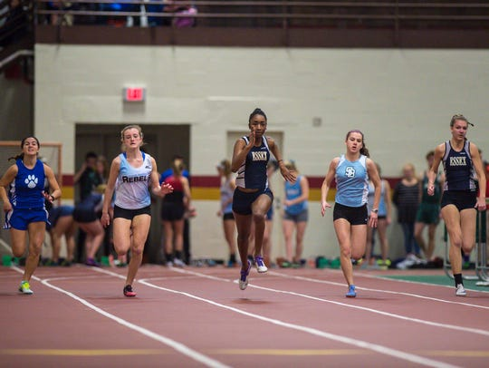 Essex's Sade Hankey, center, leads the way in the 55-meter