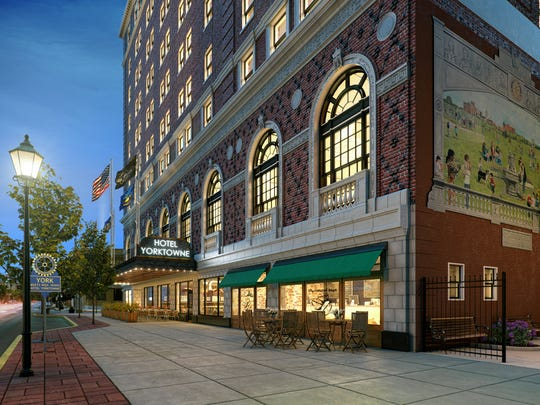 An artist's rendering depicts the Yorktowne Hotel after it undergoes a renovation.