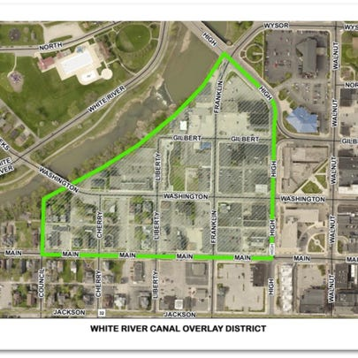 A drawing of the White River Canal Overlay District.