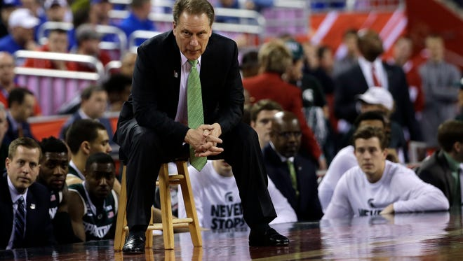 Michigan State head coach Tom Izzo  watches from the bench during the second half of the NCAA Final Four tournament  semifinal game against Duke on April 4.