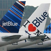 JetBlue planes at California's Long Beach Airport on Oct. 25, 2011.