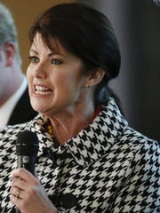 Wisconsin Lt. Gov. Rebecca Kleefisch congratulates the Tramontina and the company's employees on the company's Manitowoc expansion Tuesday, March 21.