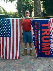 Marco Island resident Jimmy Downey shows his support for Donald Trump on Election Day, Tuesday, Nov. 8, 2016. Trump received roughly 73 percent of the vote at all three Marco Island precincts – which had nearly 90 percent turnout – while Clinton received approximately 23 percent.