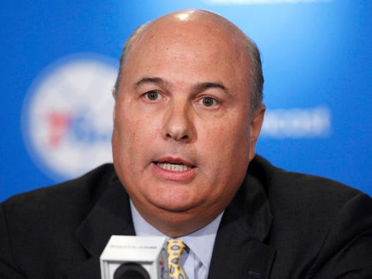 Sixers President and General Manager Ed Stefanski is seen during a news conference in Philadelphia, Monday, May 24, 2010.  (AP Photo/ Matt Rourke)