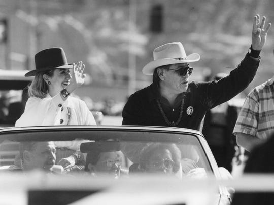Hillary Clinton appeared at the Navajo Nation Fair Parade alongside Peterson Zah in September 1992 while campaigning for Bill Clinton.