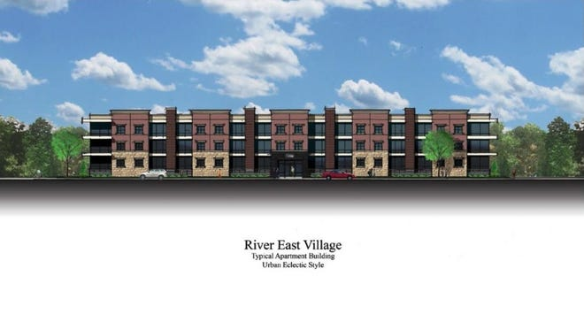 "A rendition of the River East Village, from Frantz Community Investors. Pictures is the ""urban eclectic"" design."
