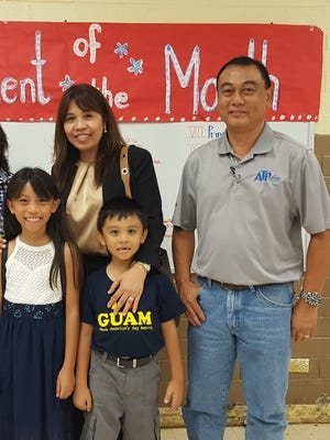 The Guahan Academy Charter School honored its April Student of the Month awardees on May 10, 2018. Pictured front row from left:.Sarah Joy Tumamak and John Thomas Tumamak. Back row from left: Mary Mafnas, Dean of Elementary School Guahan Academy Charter School; Josephine and Edbar Tumamak.