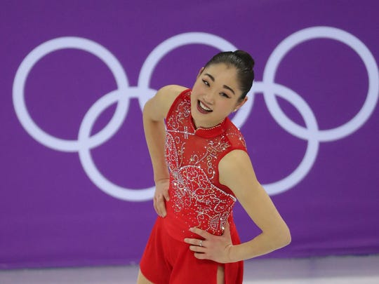 Mirai Nagasu of the United States is all smiles after her strong performance in the Team Ladies Single Skating Free Skating event Sunday during the Pyeongchang 2018 Olympic Winter Games at Gangneung Ice Arena.