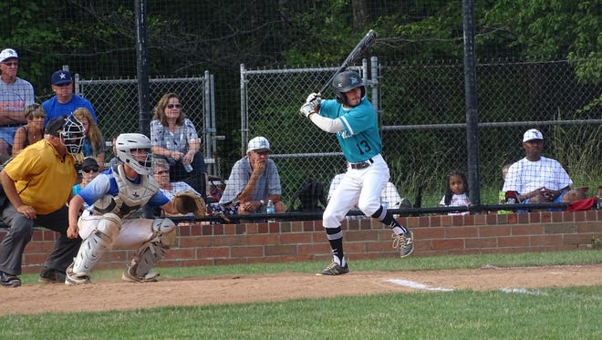 Licking Valley's Gunnar Carpenter tracks a pitch Saturday for the 17U Midwest Marlins.