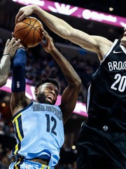 Memphis Grizzlies guard Tyreke Evans (left) has his