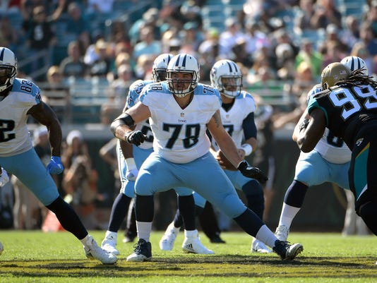 FILE - In this Dec. 24, 2016, file photo, Tennessee Titans offensive tackle Jack Conklin (78) blocks against the Jacksonville Jaguars defense during the first half of an NFL football game, in Jacksonville, Fla. The Titans finally stabilized their offensive line in 2016 with left tackle Taylor Lewan voted to the Pro Bowl, while rookie Jack Conklin was an All Pro at right tackle. (AP Photo/Phelan M. Ebenhack, File)