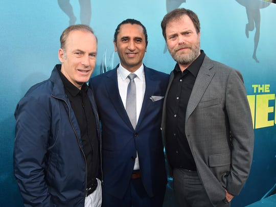 "At ""The Meg"" premiere, stars Cliff Curtis (center) and Rainn Wilson are joined by Bob Odenkirk (left) on Aug. 6, 2018, in Hollywood, California."