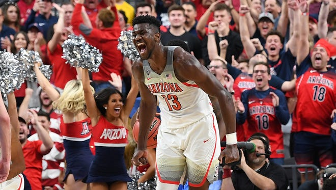 Deandre Ayton celebrates after scoring against UCLA in the Pac-12 semifinal.