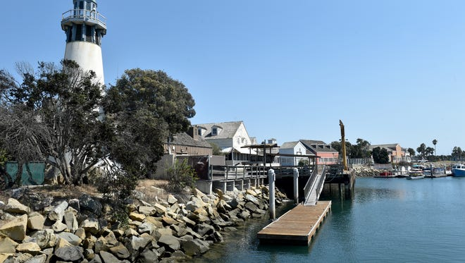 The lighthouse at Fisherman's Wharf overlooks the Channel Islands Harbor.
