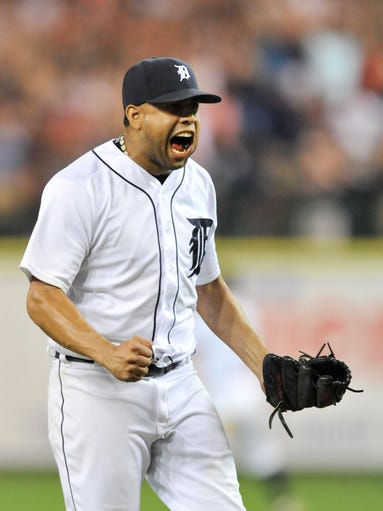 Tigers closer Francisco Rodriguez reacts after defeating