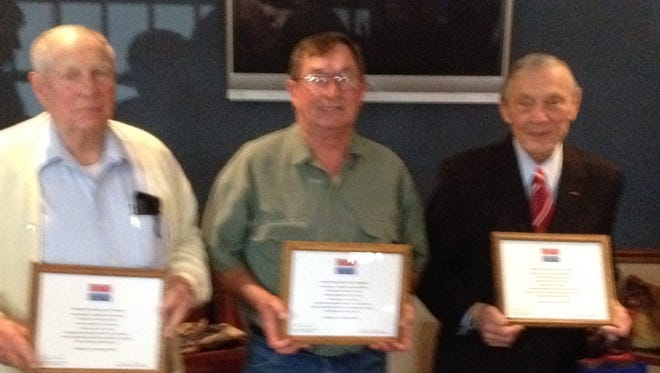 The Mountain Home Quilts of Valor group recently awarded quilts and certificates to three local veterans. Shown are, from left: Albert Underwood, U.S. Navy Korea; Kenneth Kasube, U.S. Marine Corps Vietnam; and Henry Chodacki, U.S. Air Force World War II.