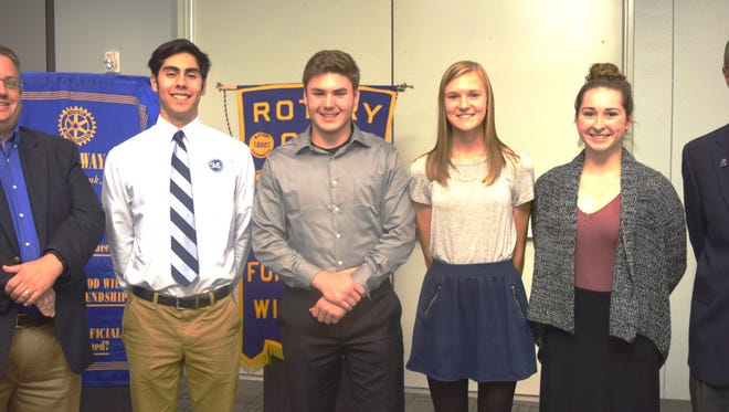 Pictured are Noon Rotary Student Guests for October with Rotary members, from left: • Steve Leaman, Student coordinator of the Fond du Lac Noon Rotary; Simitrio Arellano; Sheldon Smith; Olivia Mockert; Alexis Livieri; and Tom Schuppe, president of Fond du Lac Noon Rotary