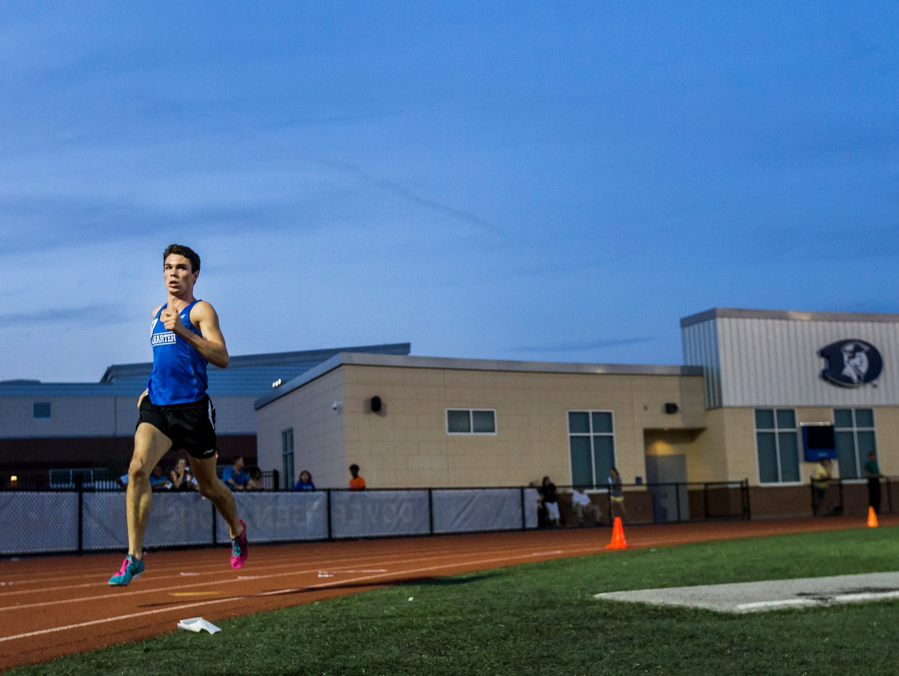 Charter's Kevin Murray races to a first place finish Boys 3200 Meter Run event at the Meet of Champions at Dover High School on Wednesday evening.